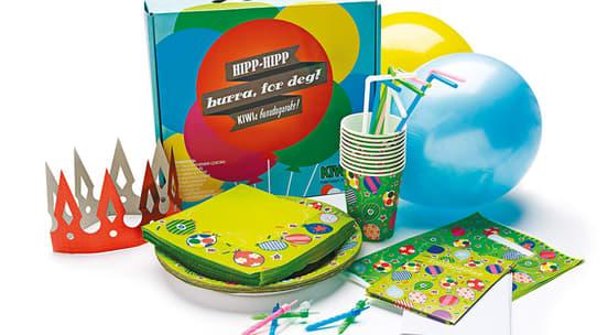 KIWI bursdagseske med bursdagshatter, ballonger, fat og kopper