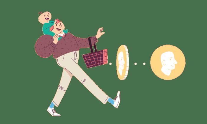 Illustrasjon av mann som går med barn på skuldrene og har to pengemynter foran seg