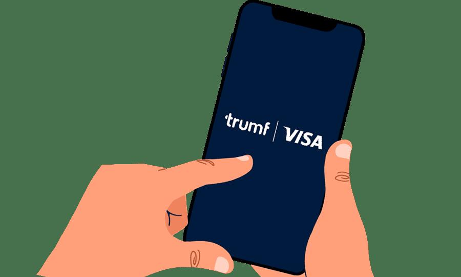 Illustrasjon av hånd som bruker Trumf Visa-appen