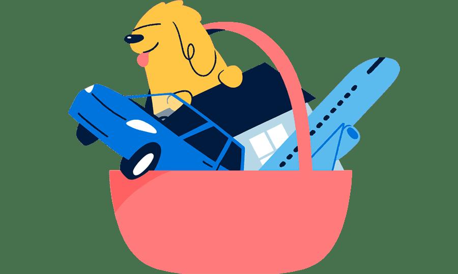 Illustrasjon av kurv med hund, bil og fly i
