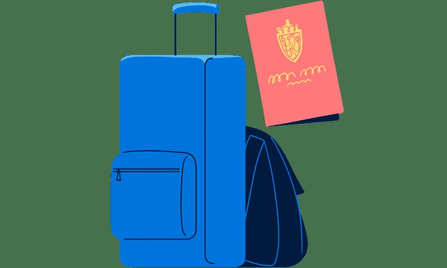 Illustrasjon av ryggsekk og pass