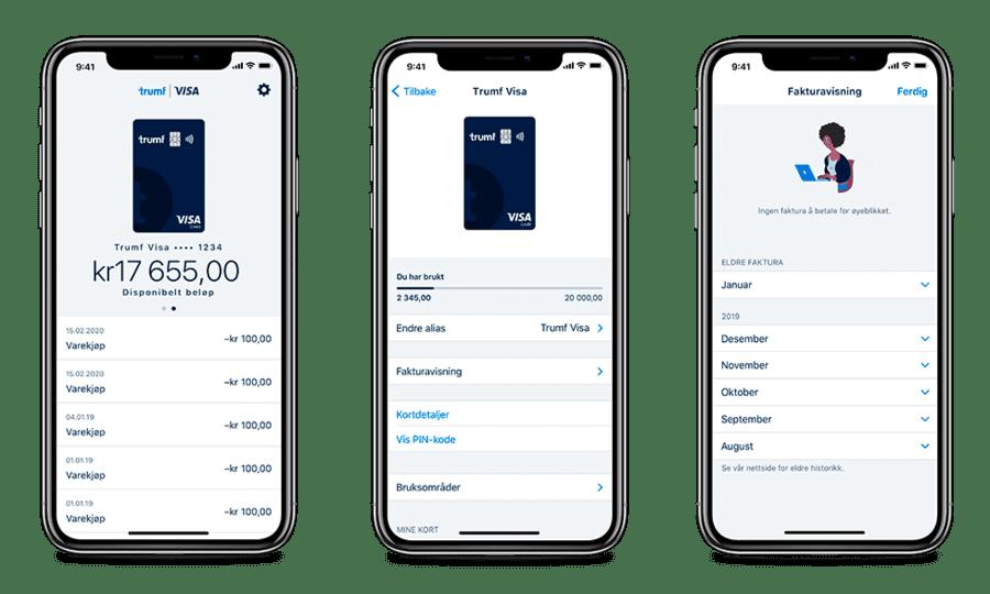 Illustrasjonsbilder på hvordan Trumf Visa-appen ser ut