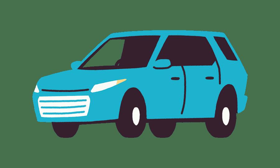 Illustrasjon av blå bil