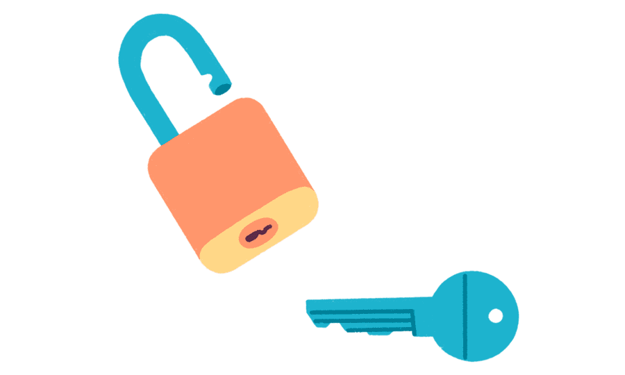 Illustrasjon av hengelås med nøkkel