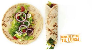Rester: LOMPETACO Lag en wrap med speltlompe, fyll med bønner, ris og kjøtt, eller annet du har i kjøleskapet, f.eks rødløk eller avokado. Smaker godt sammen med kalde kyllinglår.