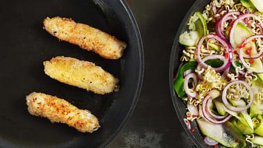 Stek reke- og torskepanettene i smør og olivenolje i en varm stekepanne i et par minutter på hver side.