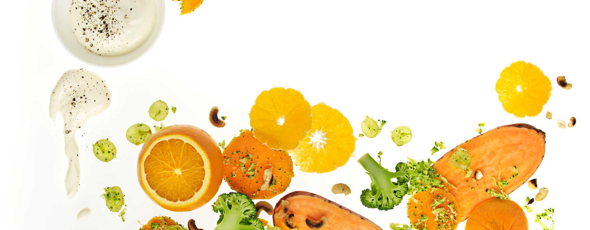 Søtpotetsalat med brokkoli og appelsin