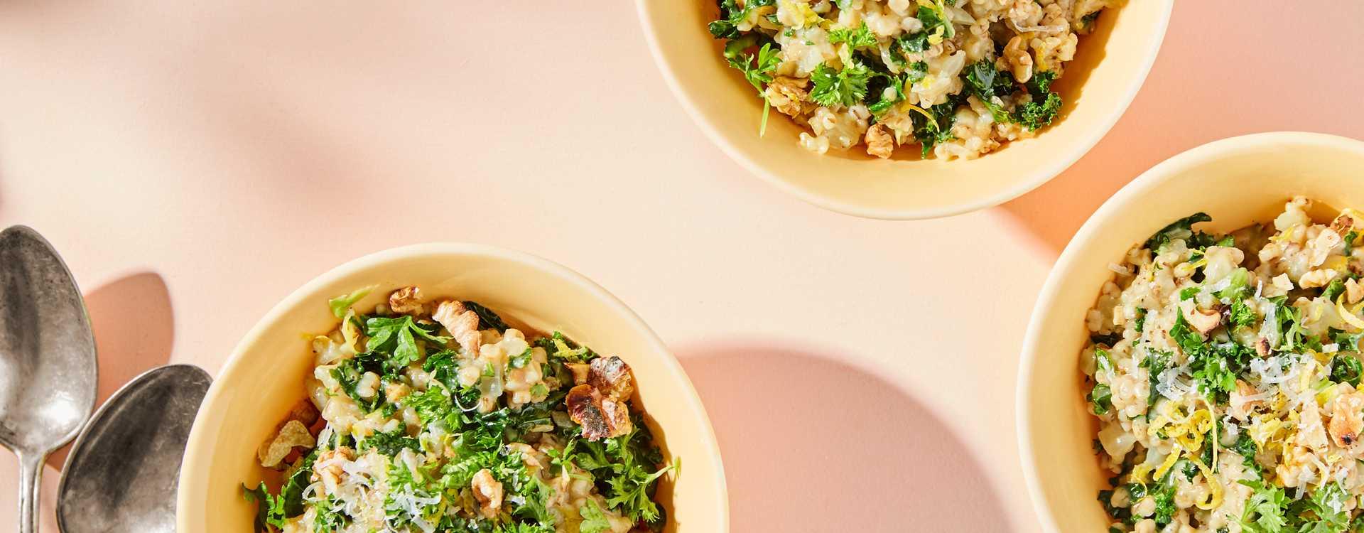 Grønn byggotto med grønnkål
