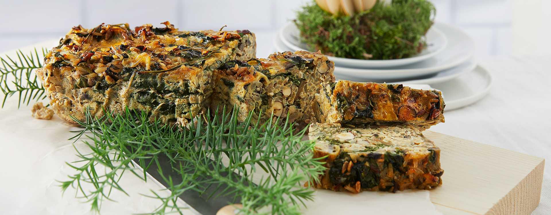 Nøttestek med sjampinjong og spinat