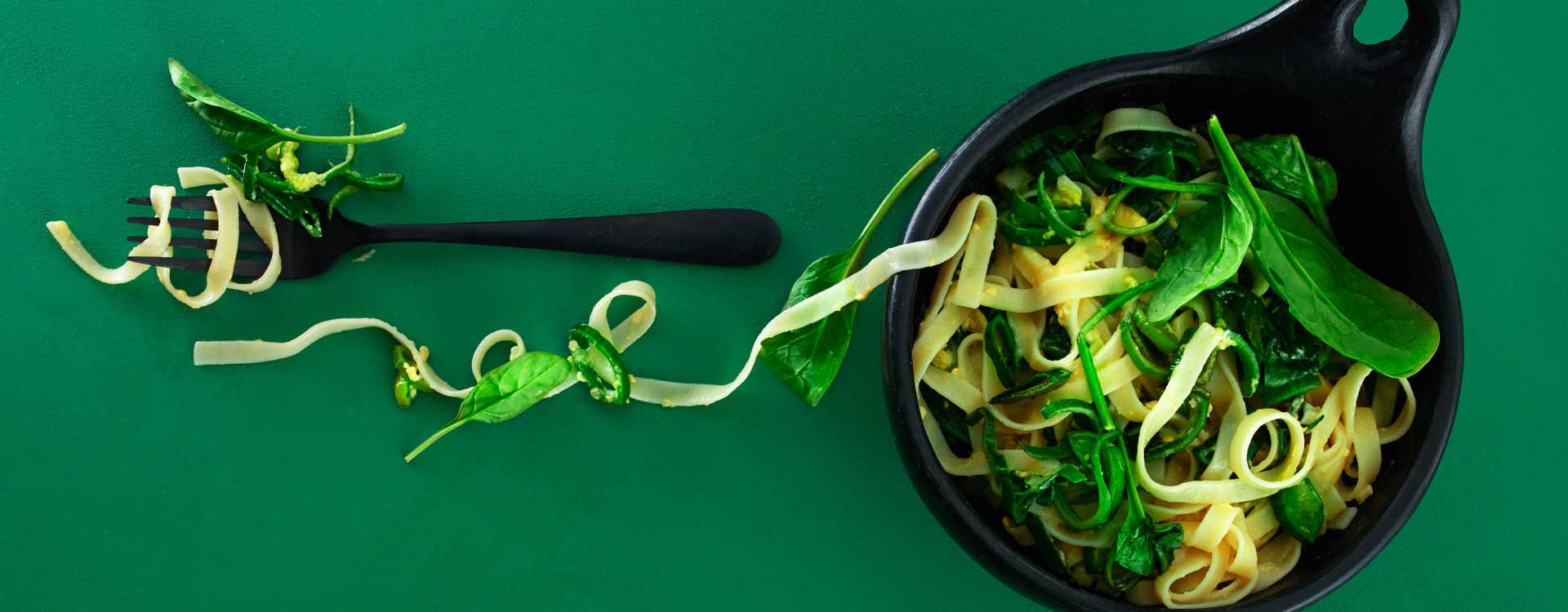 Tagliatelle med spinat