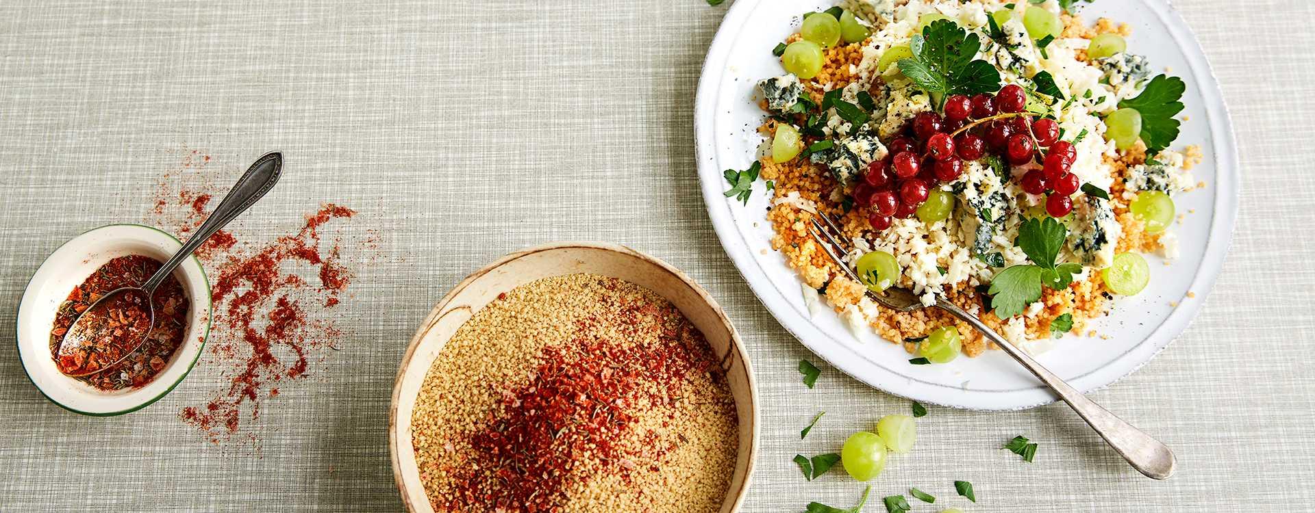 Krydret couscous med revet blomkål