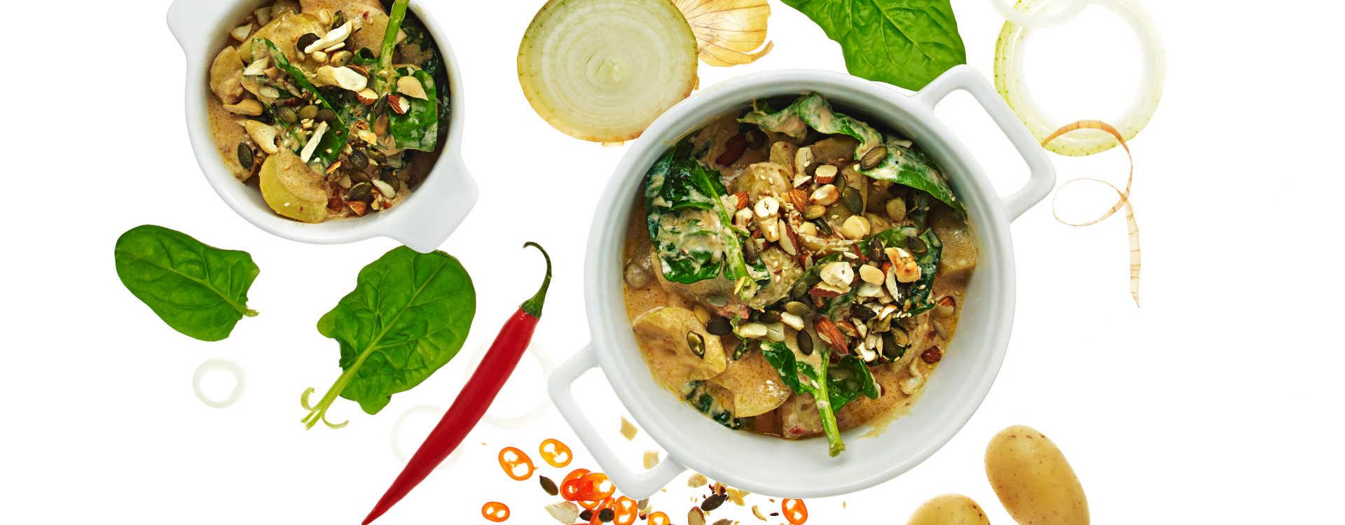 Potet og spinatgryte med frø og koriander