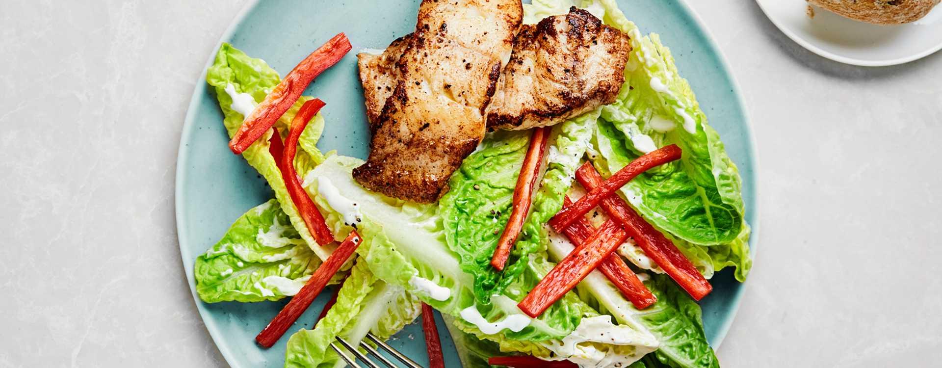 Smørstekt steinbit eller torsk med hjertesalat