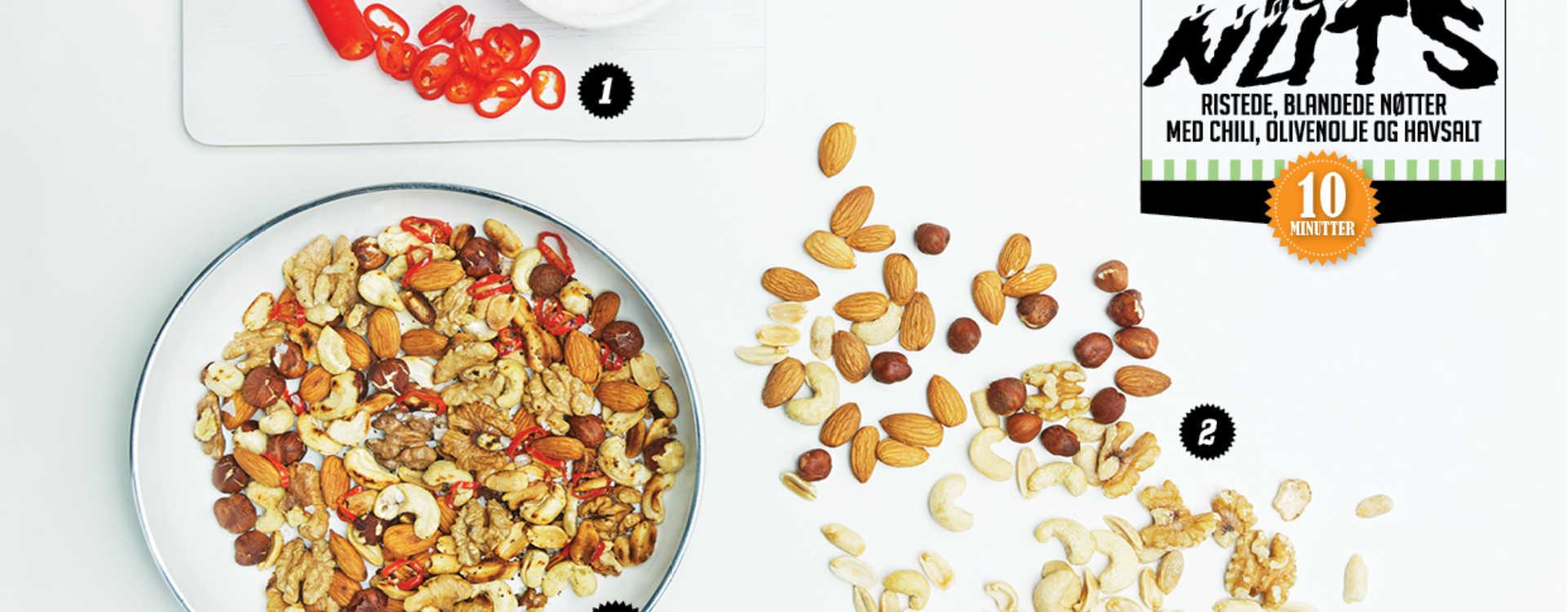 Hot Nuts Ristede, blandede nøtter med chili, olivenolje og havsalt