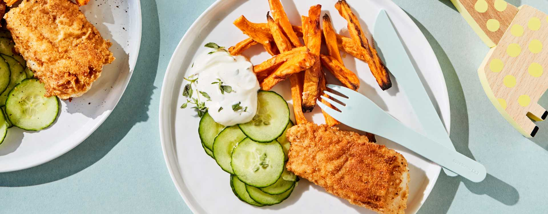 Ovnsbakt fish`n chips med søtpotet