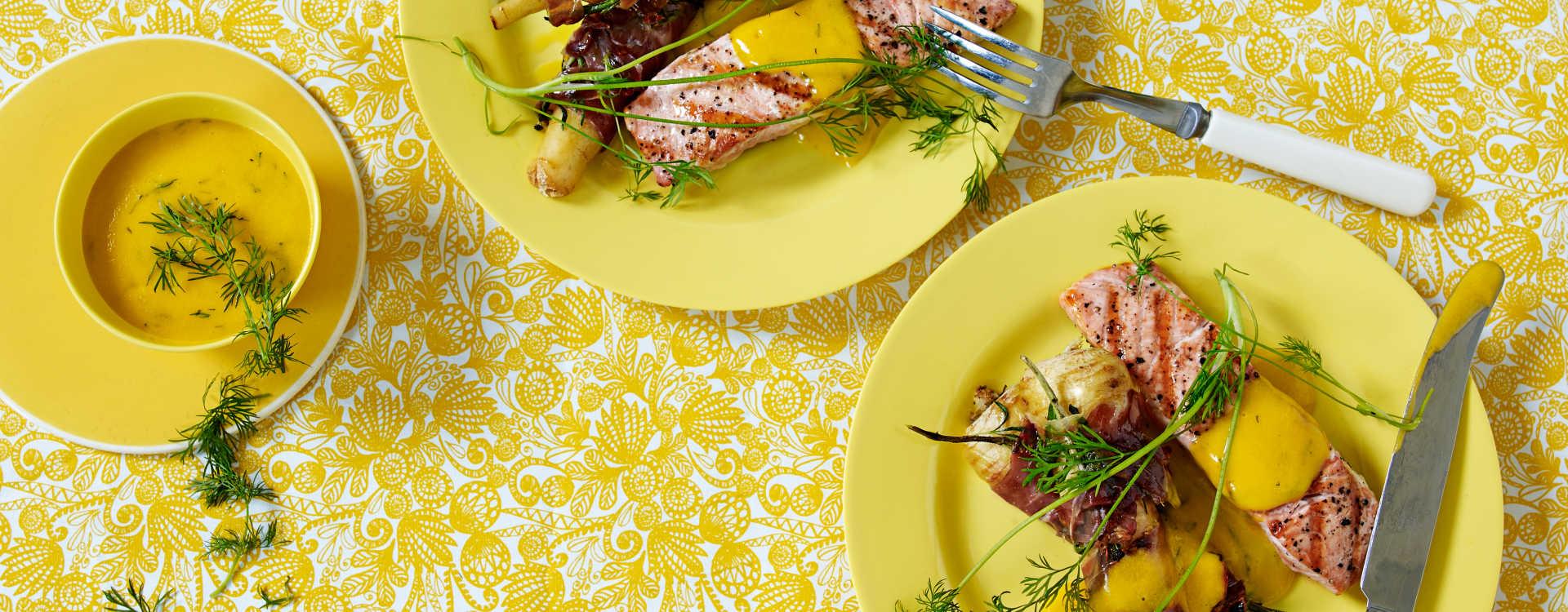 Grillet laks med sitronkokte persillerøtter, coppa og dillmajones