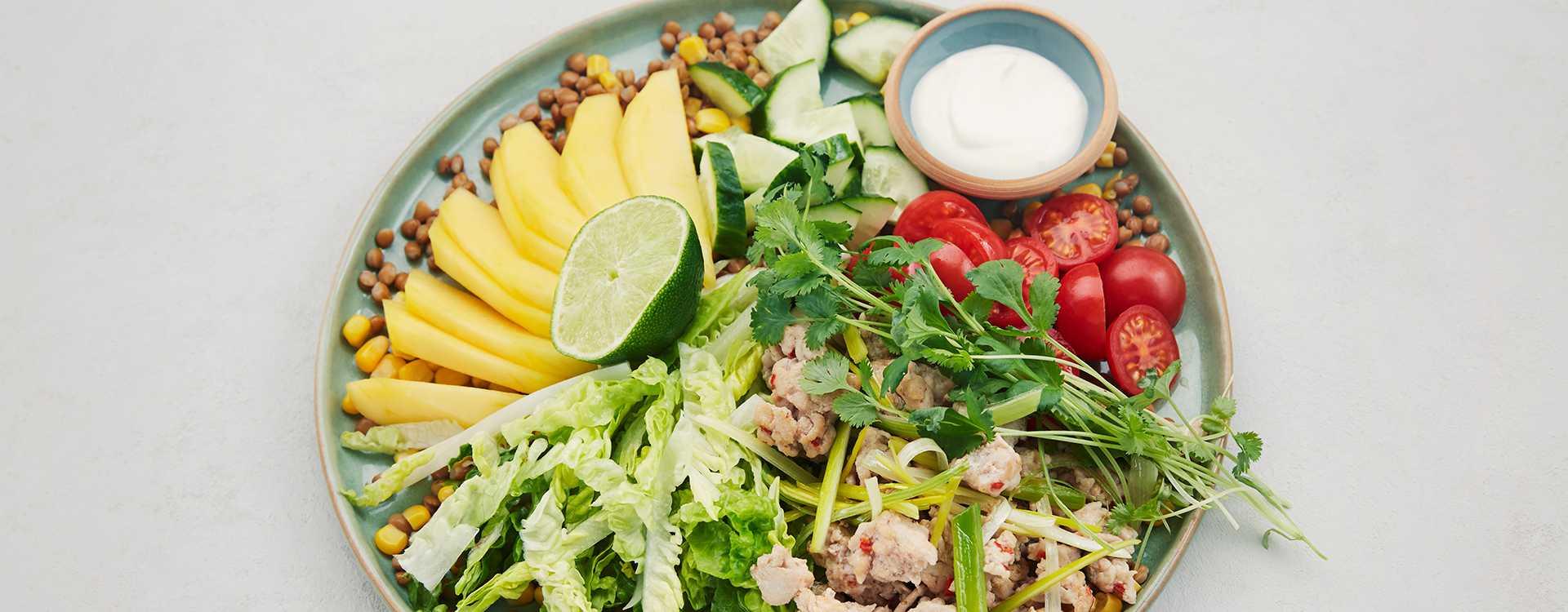 Meksikansk linsesalat med kyllingkjøttdeig