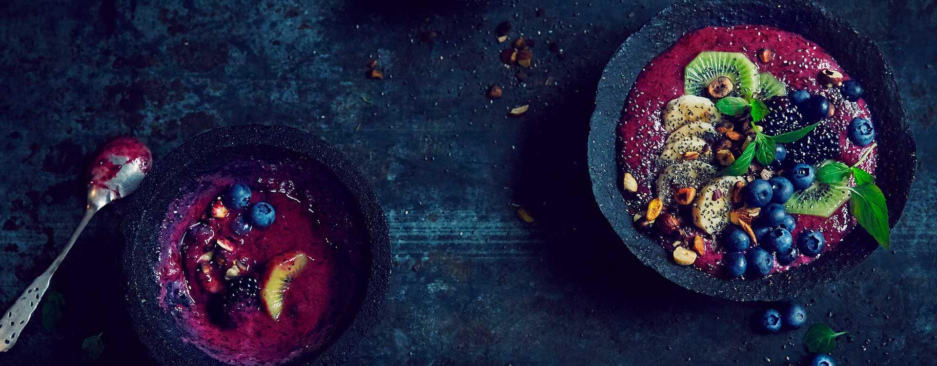 Smoothiebowl med blåbær og banan