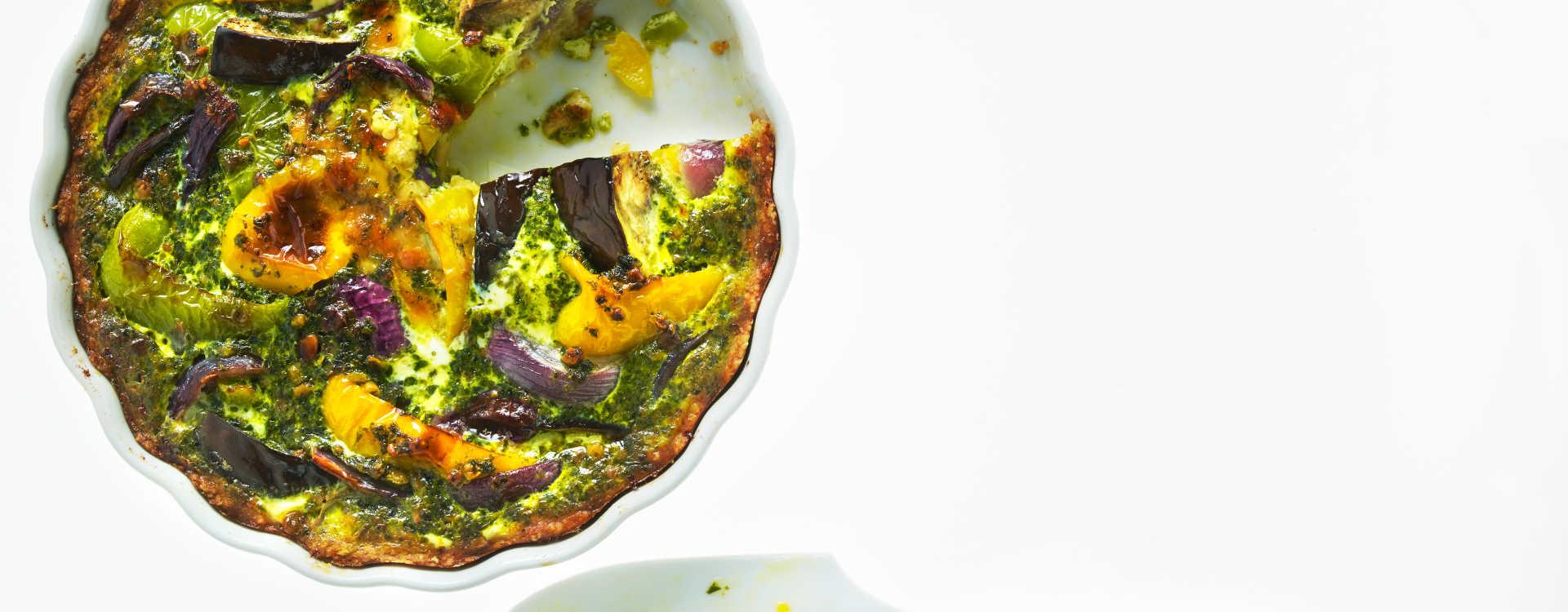 Pestopai med bakte grønnsaker