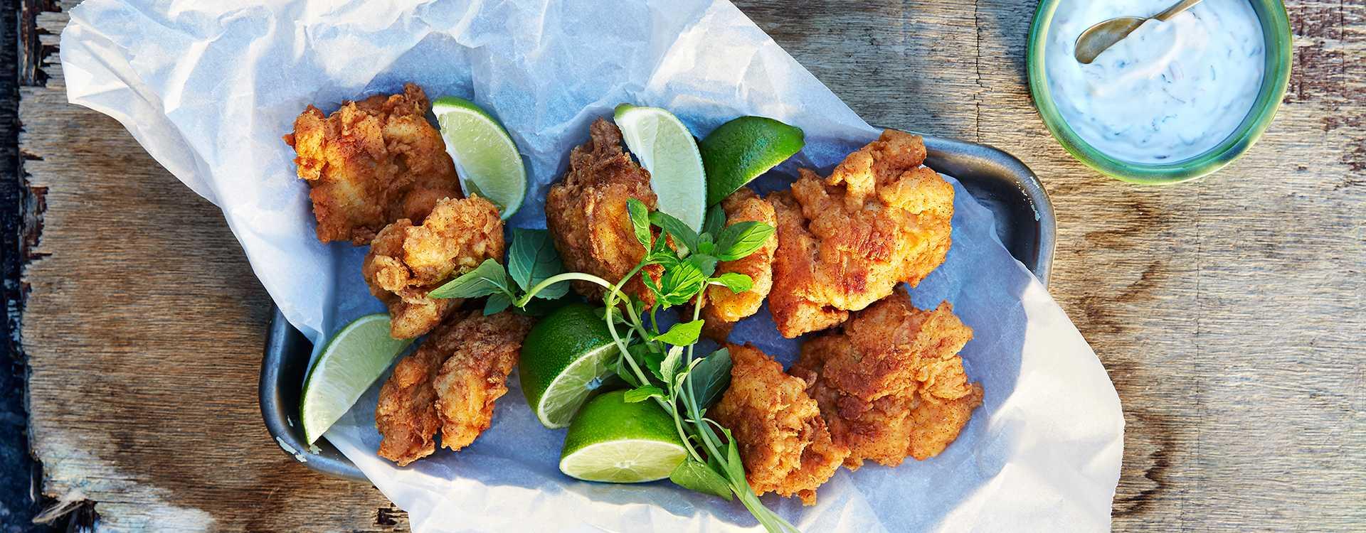 Fritert kylling med krydderdipp