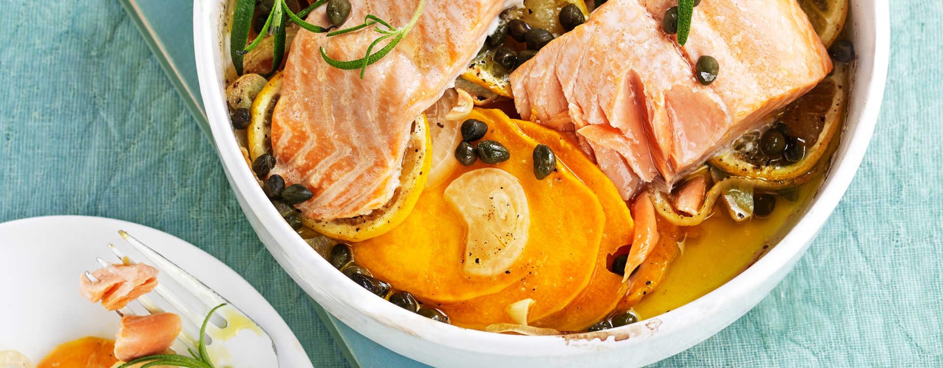 Ørret i søtpotetform med sitron og hvitløk