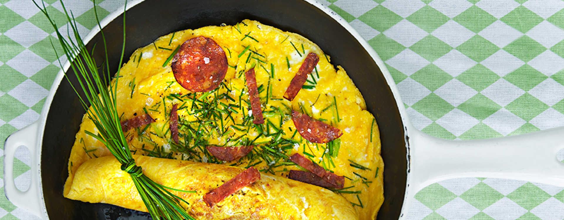Kremet omelett med chorizo