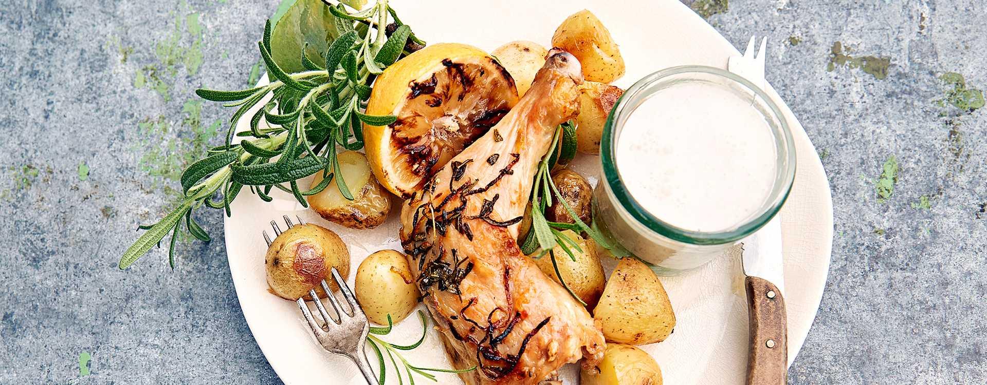 Grillet sitron- og rosmarinkylling med parmesankrem