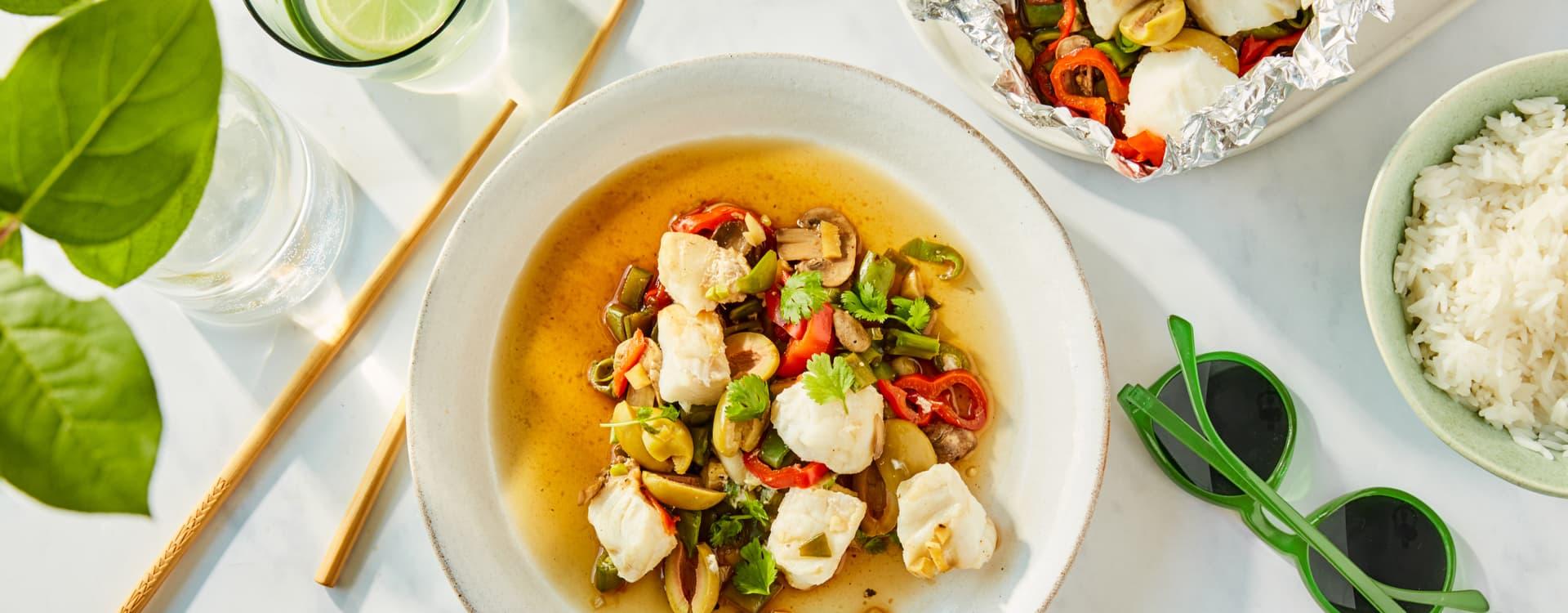 Asiatisk torsk med grønnsaker