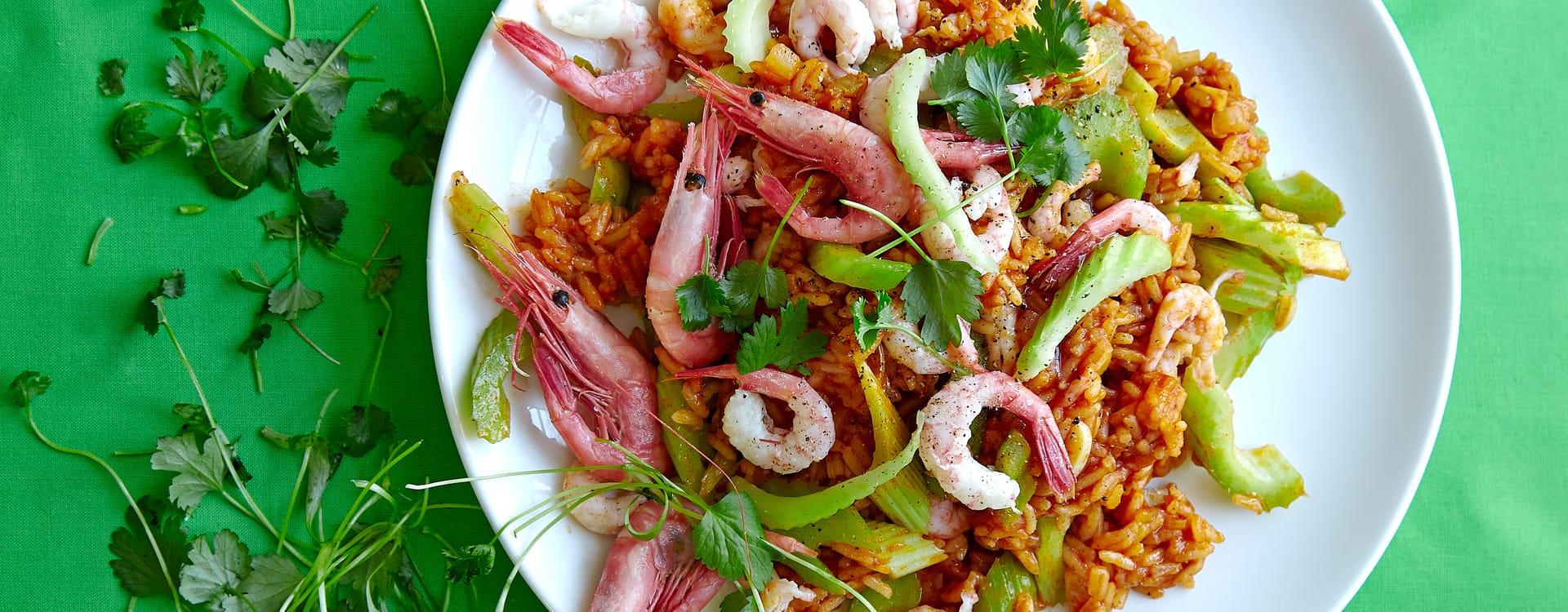 Krydret ris med reker og koriander