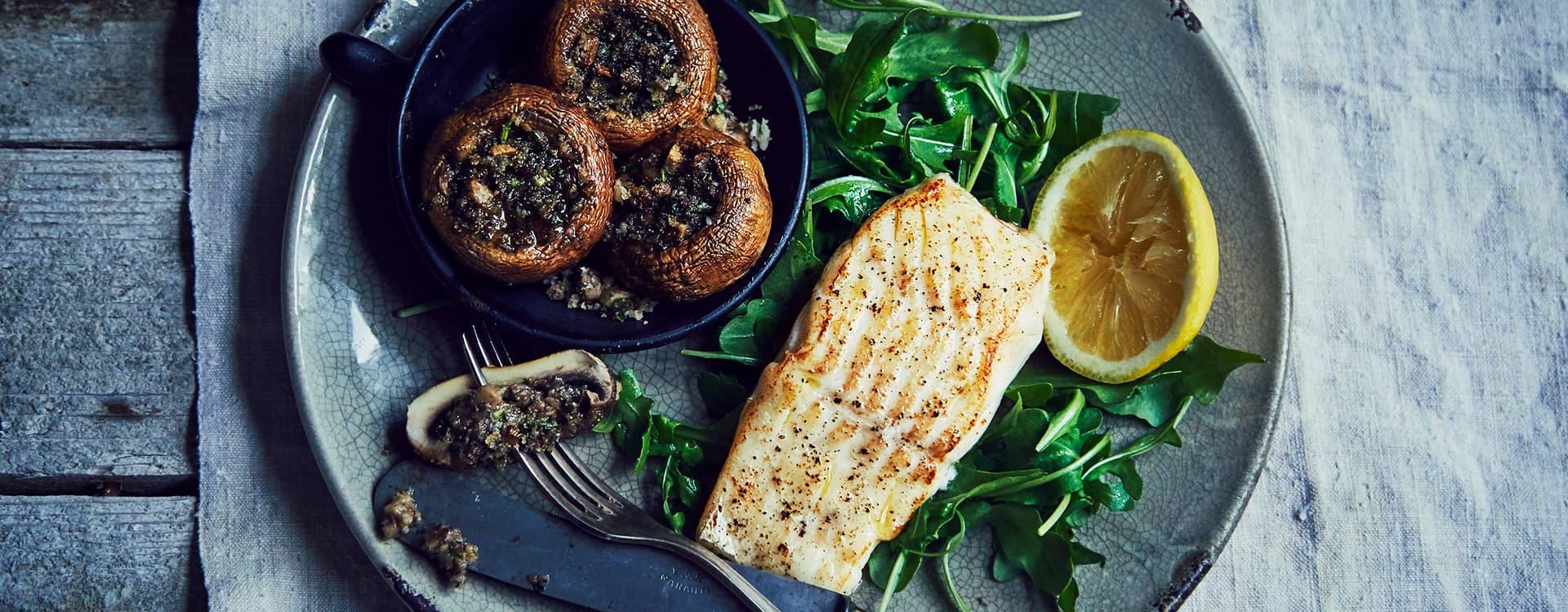 Stekt torsk med parmesangratinert sjampinjong
