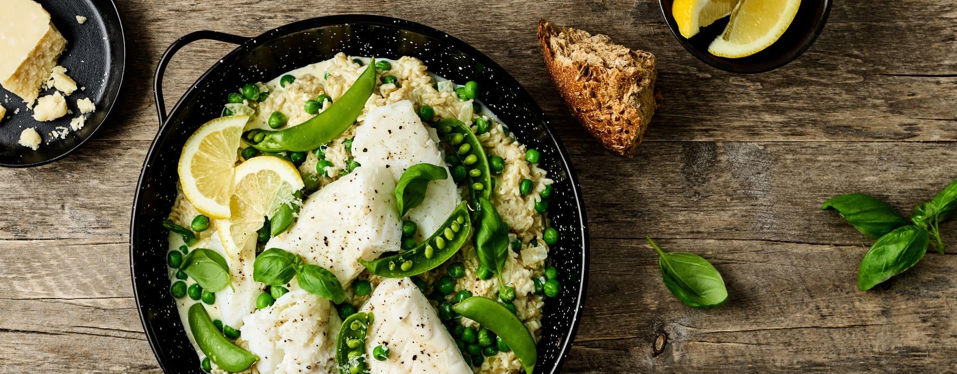 Torskegryte med ris og erter