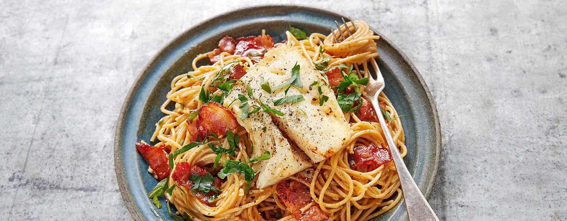 Carbonara med torsk og bacon