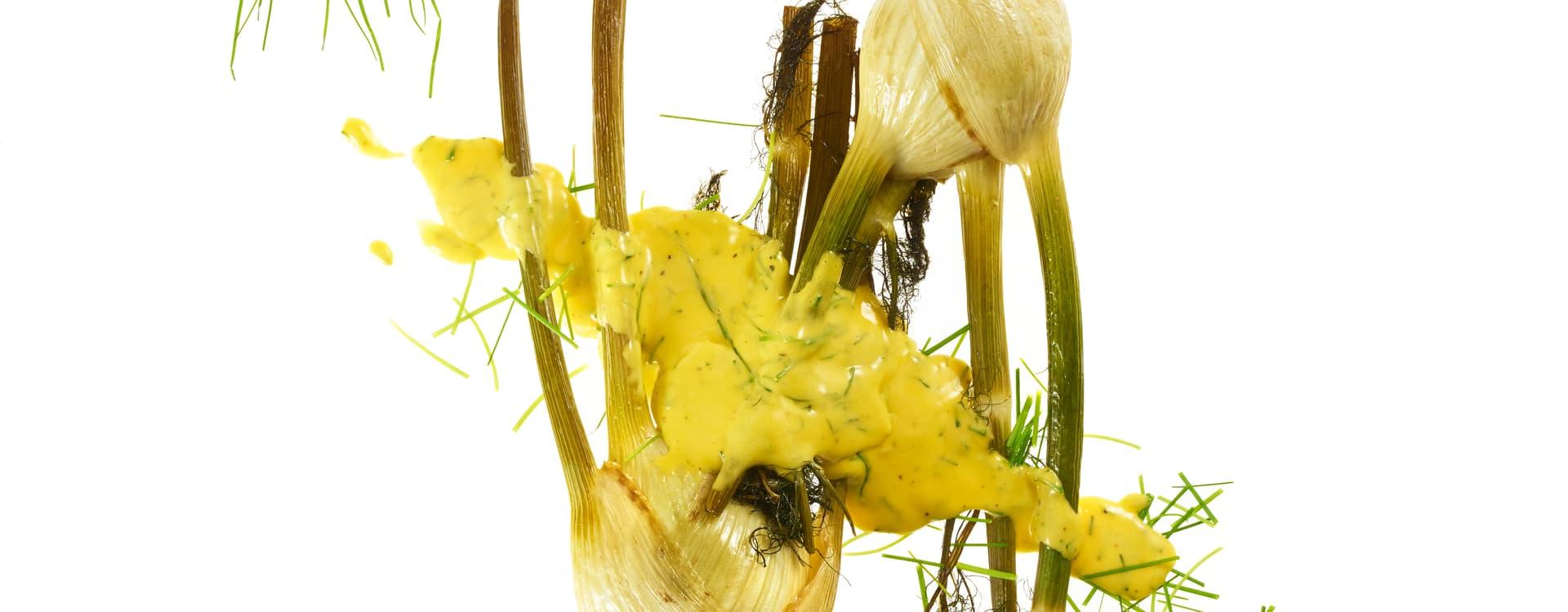Hel, bakt fennikel med gressløkhollandaise