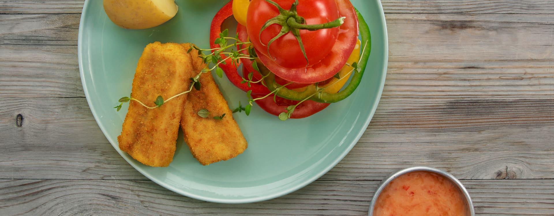 Pankopanerte fiskepinner med sweet chili