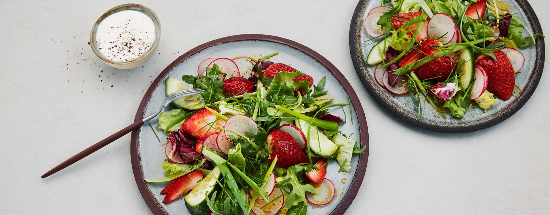 Sommersalat med pepperrotkesam og sitronolje