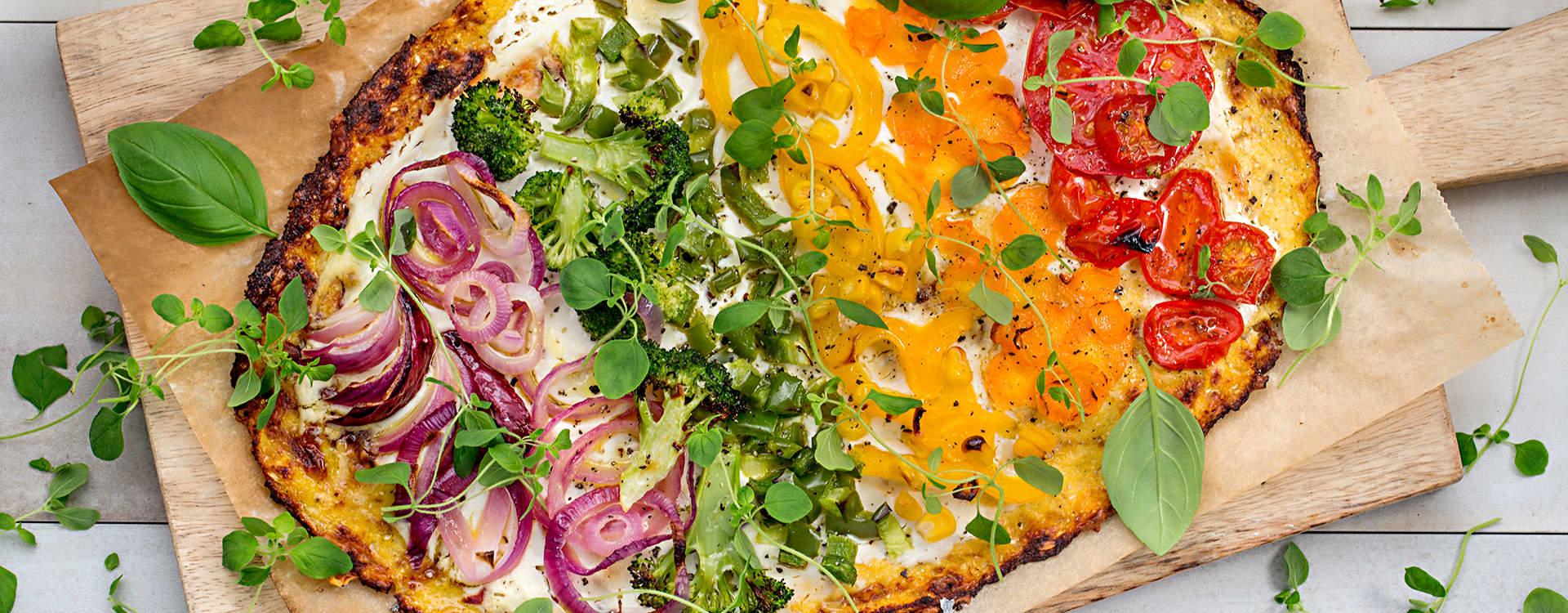 Regnbuepizza til hverdag og fest