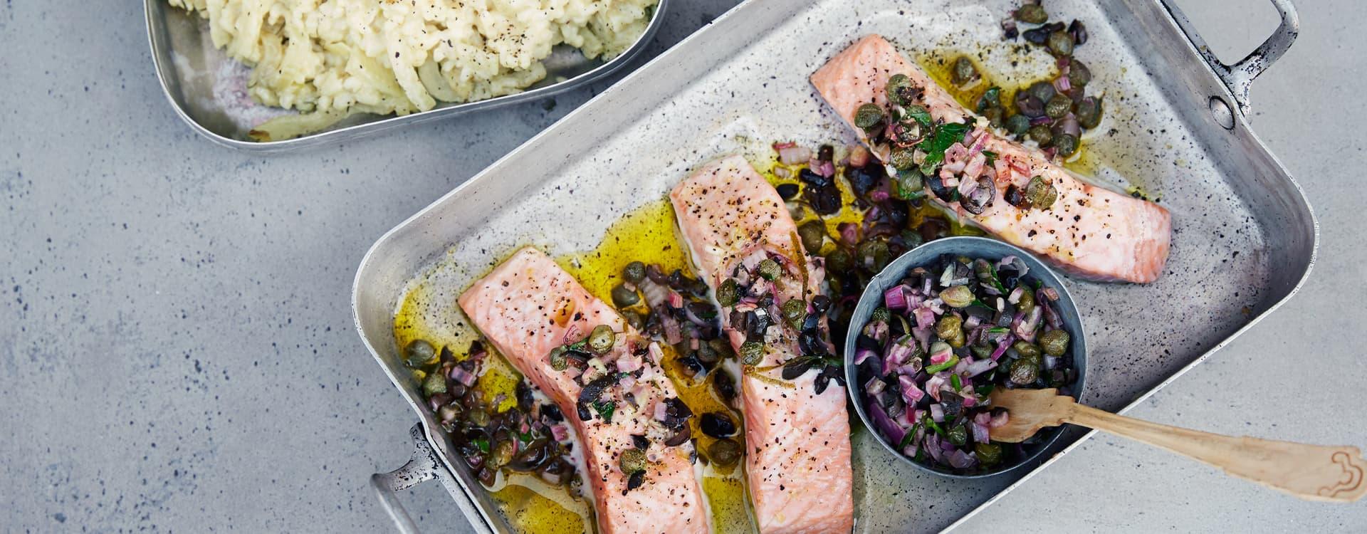 Ovnsbakt laks med oliven- og fennikelrisotto