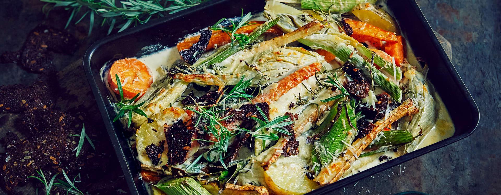 Gratinerte høstgrønnsaker