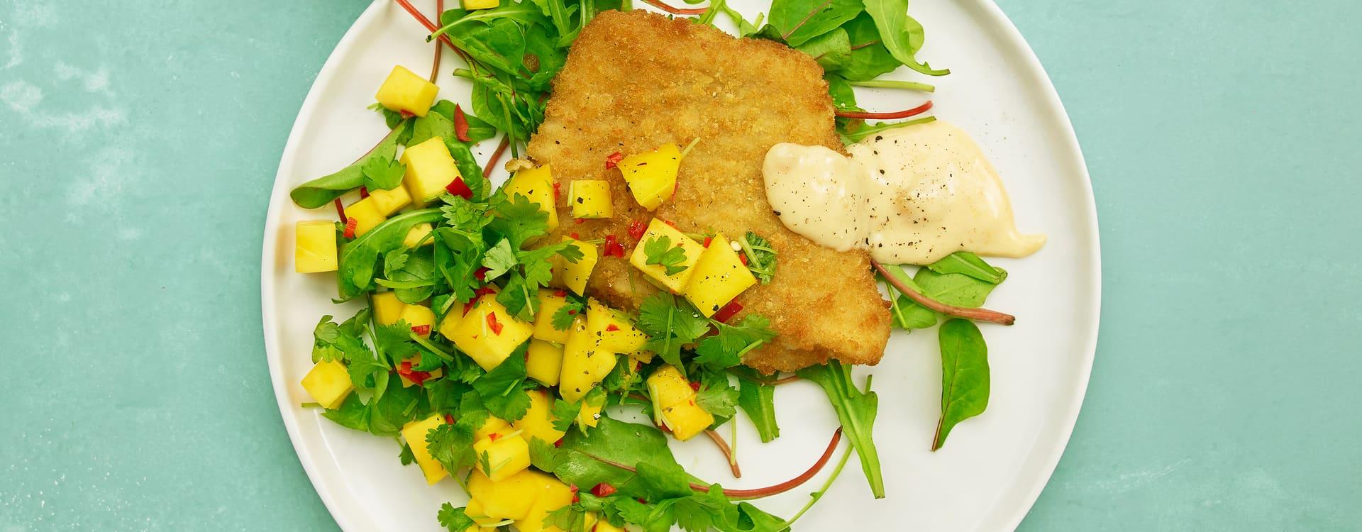 Pankopanert torsk med mangosalat
