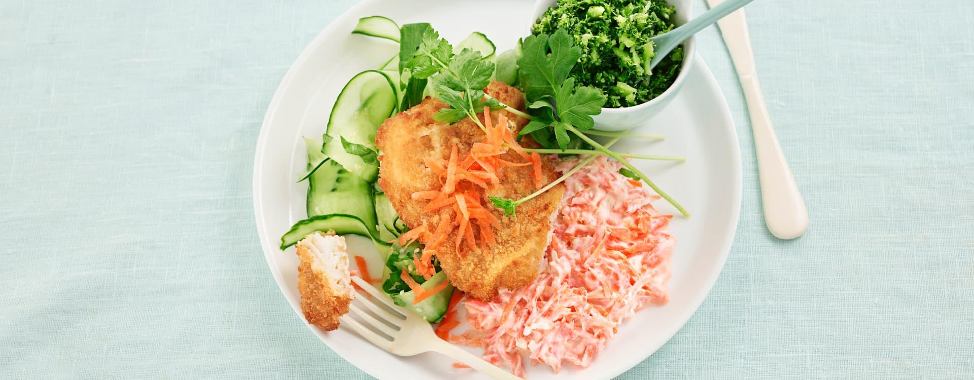 Pankopanert torskefilet med gulrottzatziki og brokkolimos