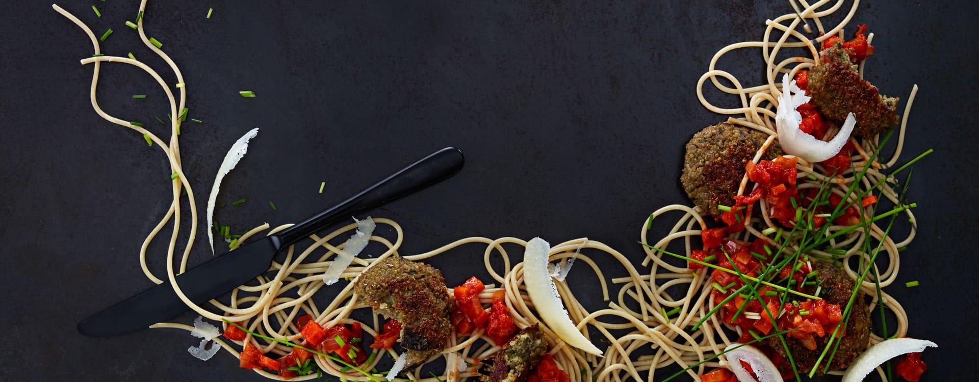 Pasta med Aubergine- og Quinoabiffer