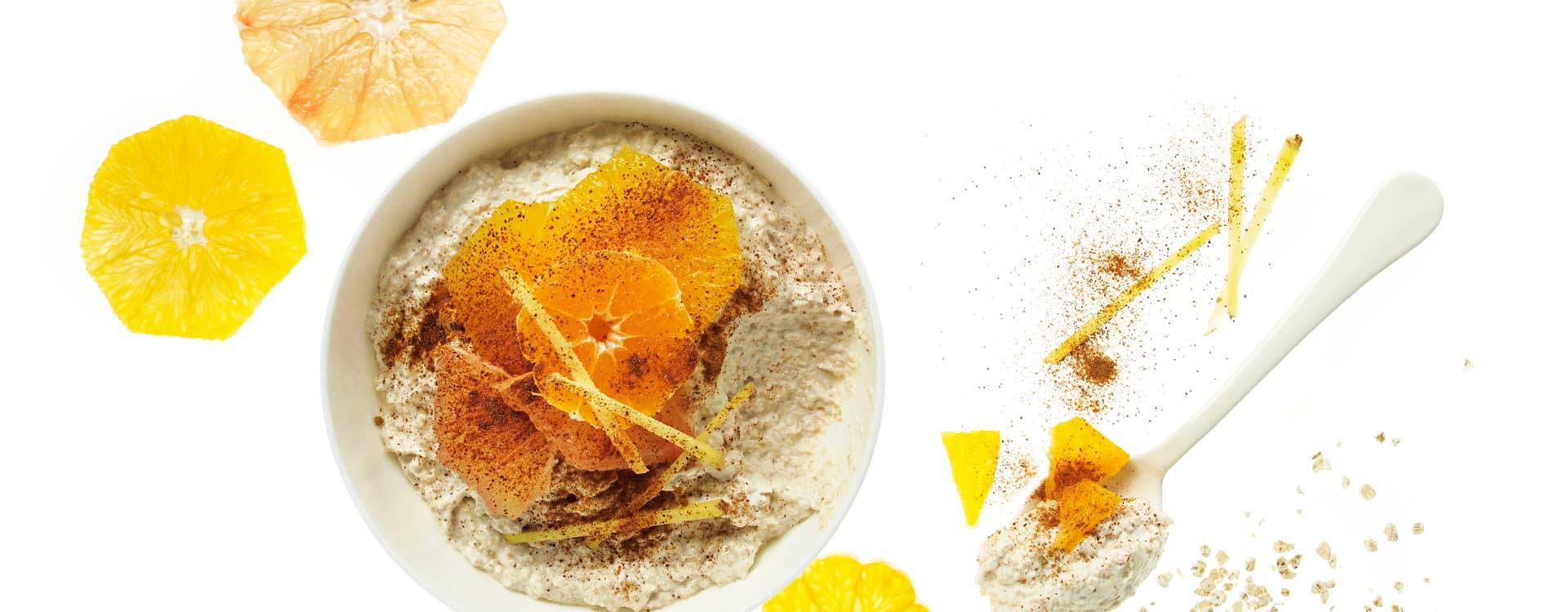 Overnight oat/kjøleskapsgrøt med sitrussalat