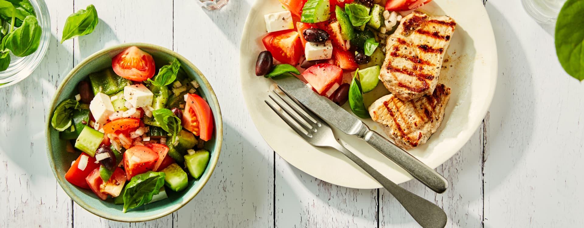 Ytrefilet av svin med gresk salat