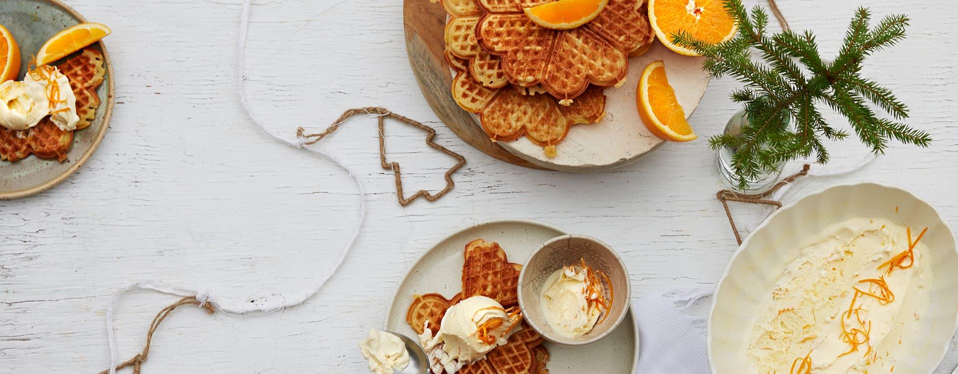 Vaniljevaffel med appelsinis
