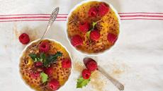 Crème brûlée med friske bringebær og stjerneanis
