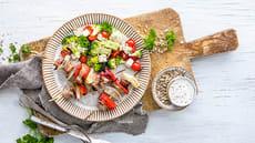 Grillspyd med brokkolisalat
