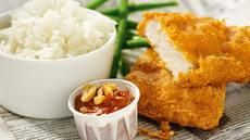 Fish & crisp med spennende crunchy ketchup og jasminris