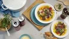 Grønnnsakssuppe med kjøttboller og parmesan
