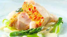 Kyllingfilet med reker og asparges