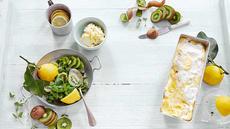 Semifreddo med lemoncurd, kiwi- og myntesalat